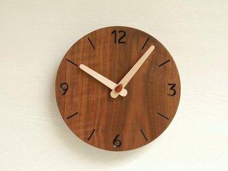 直径19.4cm 掛け時計 ウォールナット【1727】の画像