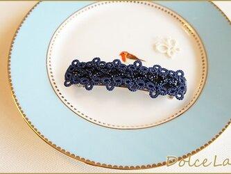 手編みタティングレースのバレッタ*Navy*Lサイズの画像