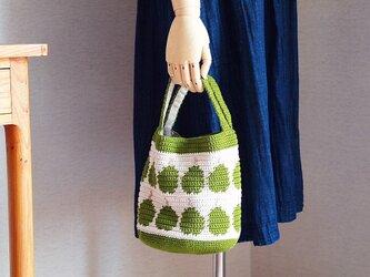 洋梨柄のハンドバッグ*グリーンの画像