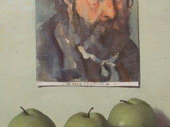 セザンヌの自画像と3つのりんごの画像