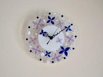 【即納】壁掛け時計(ブルーフラワー)の画像