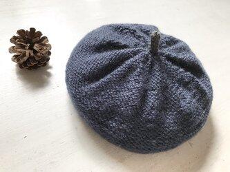 ニットベレー帽[ネイビー]の画像