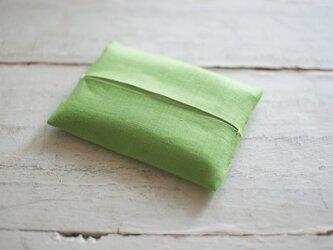 【再販】大人のリネンのポケットティッシュカバー《グリーン》の画像