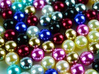 送料無料 穴なしパール ミックス カラーパール 100個 全円 10mm 10色 デコ レジン (ANP0001)の画像