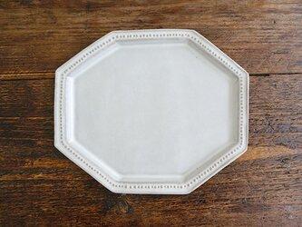 八角ドットリム皿(ライトグレー)の画像