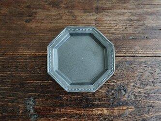 八角ドットリム小皿(黒マット)の画像