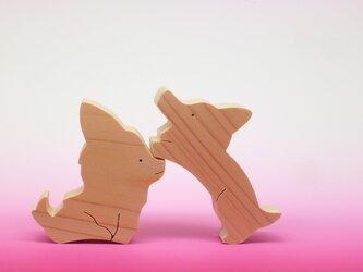 送料無料 木のおもちゃ 動物組み木 チワワとコーギーの画像