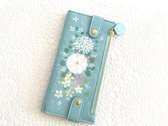 花ペイント カードケース(ブルー)_バラとアジサイ【受注制作】の画像