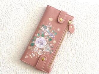 花ペイント カードケース(サーモンピンク)_バラとブルースター【受注制作】の画像