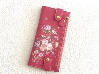 花ペイント カードケース(ピンク)_バラとチューリップ【受注制作】の画像