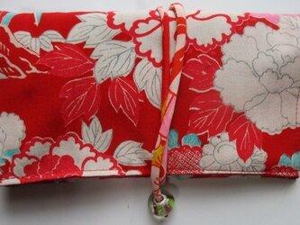 送料無料 花柄の着物で作った和風財布・ポーチ 2940の画像