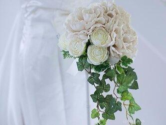 【ブートニア付き】シャビーシックローズシャワーブーケ アーティフィシャルフラワー 造花の画像