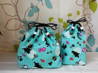 シルエットのアリス コップ袋ロングor ランチ巾着の画像