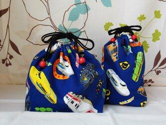 RAILWAY ブルー コップ袋ロングor ランチ巾着の画像