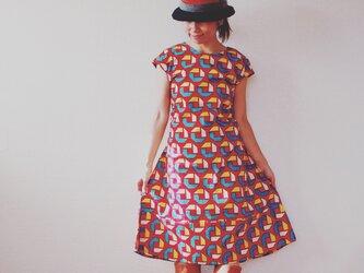 ワンピース アフリカンプリント x 播州織 <踊る -ODORU->の画像