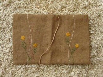 手刺繍・ブックカバー(小菊)の画像
