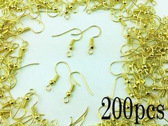 送料無料 ピアス フック ゴールド 200個 金色 アクセサリー パーツ ハンドメイド 金具 (AP0042)の画像