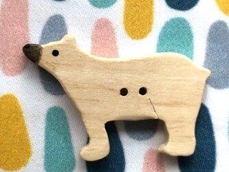 ウッドボタン クマ 熊-ホワイト 白熊 シロクマ1082の画像