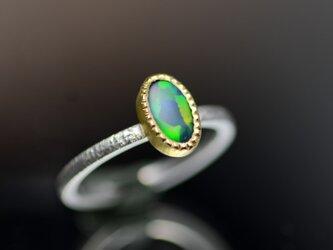 ブラックオパールの指環 Pt900-K18YGの画像