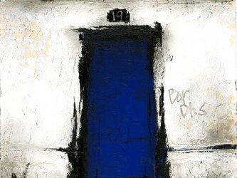 風景画 パリ 油絵「裏通りの青い扉のBAR」の画像