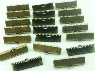 送料無料 ワニグチ 20個 リボン 留め 紐 留 22mm 金古美 ワニカン ワニ口 エンドパーツ (AP0076)の画像