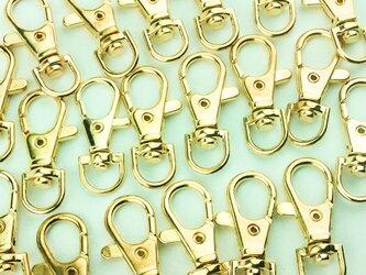 送料無料 ナスカン ゴールド 38mm 20個 金 回転フック アクセ キーホルダー ストラップ パーツ 金具 AP0090の画像