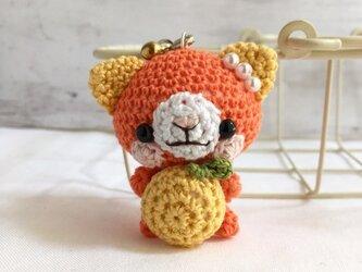【受注生産】グレープフルーツ・濃黄色×濃オレンジ色ネコさん*鈴付きイヤホンジャックストラップの画像