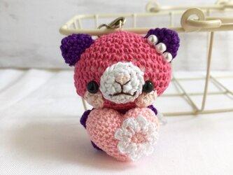 【受注生産】ピンクハート・パッションピンク&濃紫色ネコさん*鈴付きイヤホンジャックストラップの画像