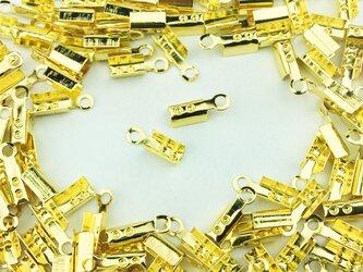 送料無料 カシメ 紐留め 150個 幅3mm ゴールド 金色 アクセ ネックレス パーツ ヒモ留め 留め具 (AP0093)の画像