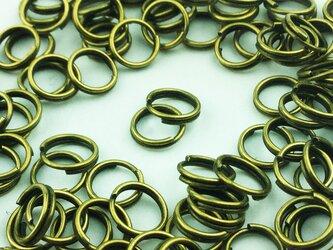 送料無料 二重 丸カン 6mm 100個 金古美 マルカン 丸環 アクセサリー リング パーツ 金具 (AP0096)の画像
