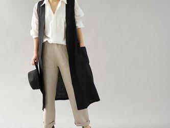 【wafu】中厚 リネン ロングジレ ベスト ノースリーブ アウター 羽織り ポケット付き / ブラック h025a-bck2の画像