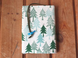 森のブックカバー2 青の画像