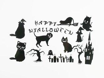 猫ちゃんハロウィンステッカー/シール(ブラック)の画像