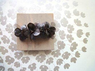 【受注生産】花びらのバレッタ■サテン×オーガンジー■チョコブラウンの画像