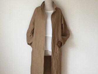 小さい襟のハンサムコート リネン一枚仕立て ラグランスリーブの画像