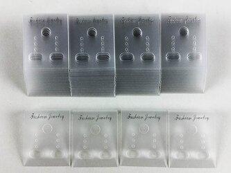 送料無料 ピアス 台紙 クリア 100枚 37mmx30mm 透明 イヤリング 台紙 アクセサリー 飾り (AP0182)の画像