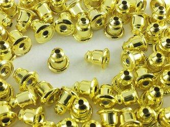 送料無料 弾丸型 ピアスキャッチ 100個 ゴールド 6mmx5mm 内部 シリコン キャッチ ピアス パーツ  AP0193の画像