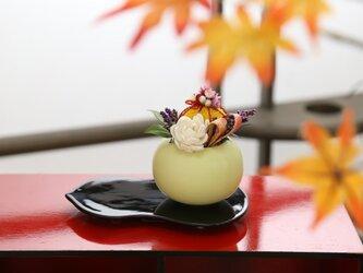 【菊化粧 わかば】和菓子の様な可愛いお花、お皿付き!一生忘れない素敵な贈り物に・・・お正月、長寿のお祝い、還暦祝い、お誕生日にの画像