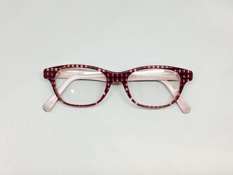 バーガンディブロックパターンのかわいいメガネ(メガネフレーム)の画像