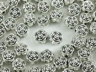 送料無料 ロンデル 6.5mm 100個 シルバー 花 薔薇 型 バラ フラワー 金属パーツ メタルパーツ (AP0219)の画像