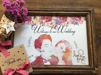 結婚式 似顔絵ウェルカムボード台紙のみ 水彩風 花柄の画像