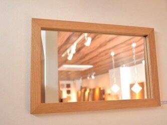 さりげない・かんざし加工!無垢けやき材壁掛け・ウォールミラーの画像