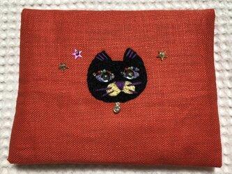 刺繍のティッシュケース☆オシャレな猫の画像