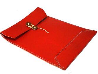 【猫ゆき様ご注文品】トスカーナ床革のマニラ封筒 A4ファイル対応 水色糸の画像