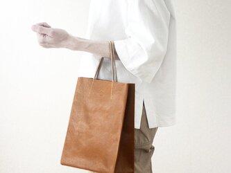紙袋っぽい革袋 S・キャメル[受注生産品]の画像