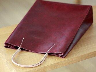 紙袋っぽい革袋 M・バーガンディ(A4が入る)の画像