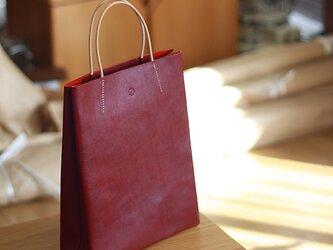 (NEW)大人の革袋 M・A4が入る・バーガンディの画像