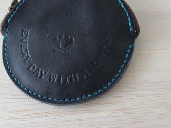 手縫いのコインケース / smile ブラックの画像
