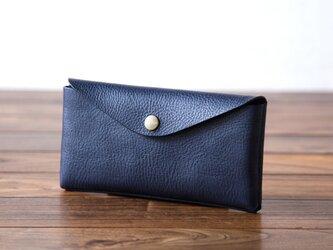 イタリア製牛革のコンパクトな長財布3  /   ネイビー※受注製作の画像