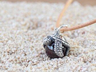幸福のウミガメ玉ペンダント ロードライトガーネット 革ヒモネックレス付きの画像